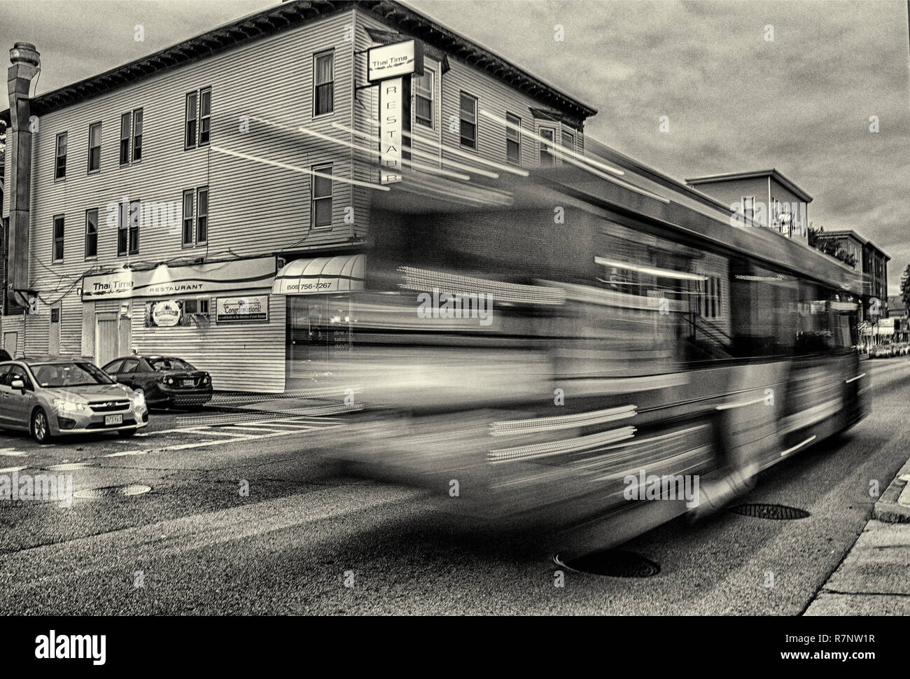 Bus on Highland Street in Worcester, MA - Stock Image