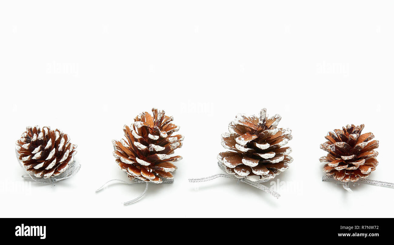 pinecone on a white background. Christmas background. fir cones. - Stock Image