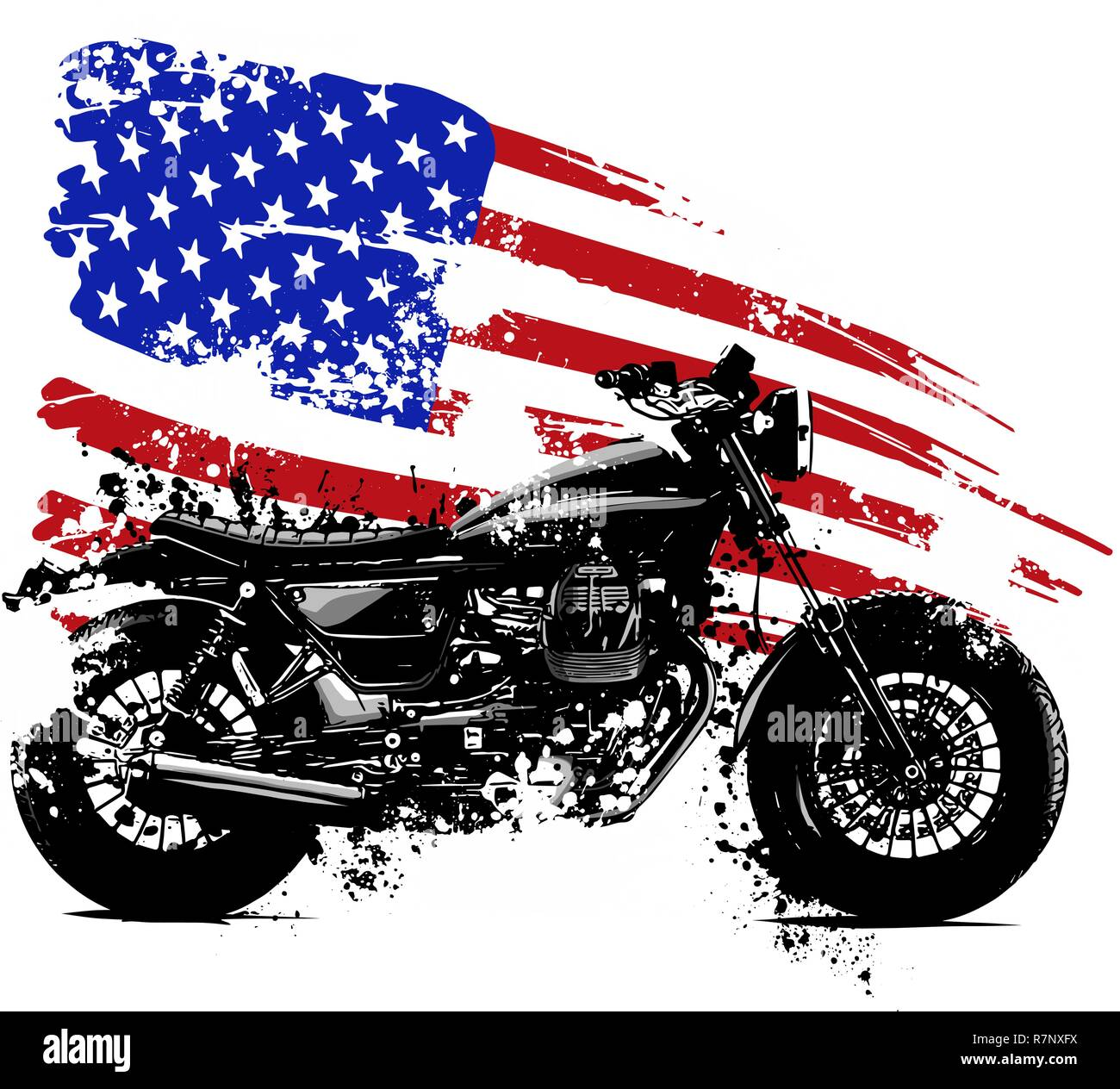 vetor illustration American chopper motorcycle with american flag - Stock Image