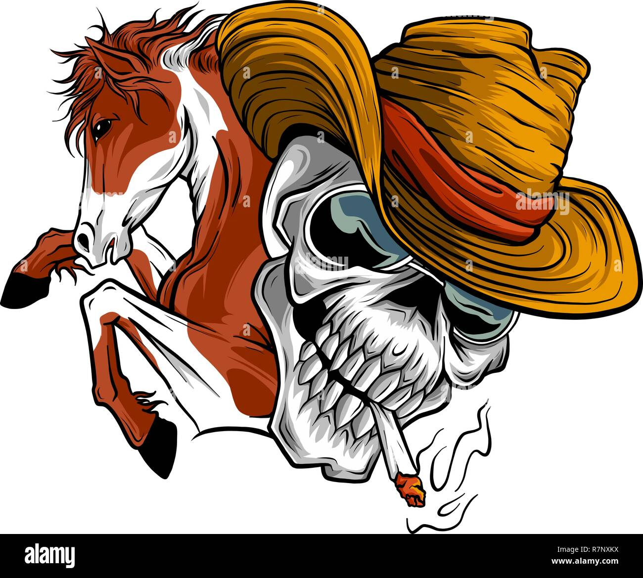 vector illustration skull cowboy ride a horse - Stock Image
