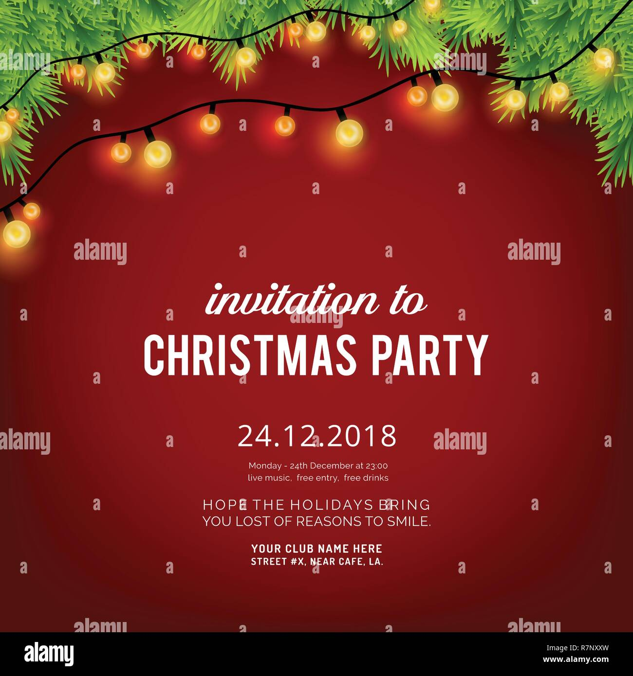Merry Christmas Party Invitation Background Stock Vector Art