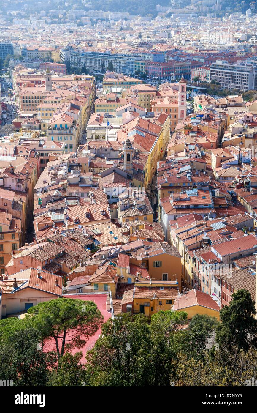 France, Alpes Maritimes, Nice, Old Nice district, Sainte Réparate Cathedral on the right and Tour de l'Horloge on the left Stock Photo