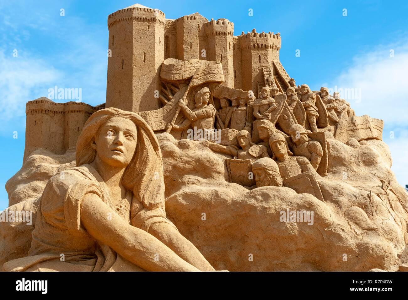 Denmark, Zealand, Hundested, sand sculpture festival - Stock Image