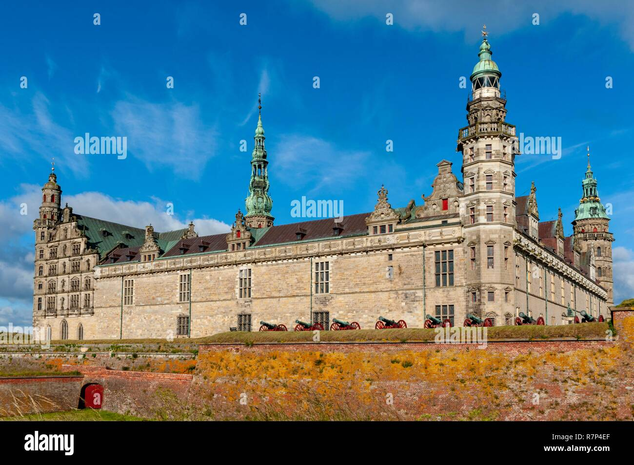Denmark, Island of Sjaelland, Helsingor, Renaissance castle of Kronborg and its fortifications, classified as World Heritage by UNESCO, Shakespeare's Hamlet setting - Stock Image