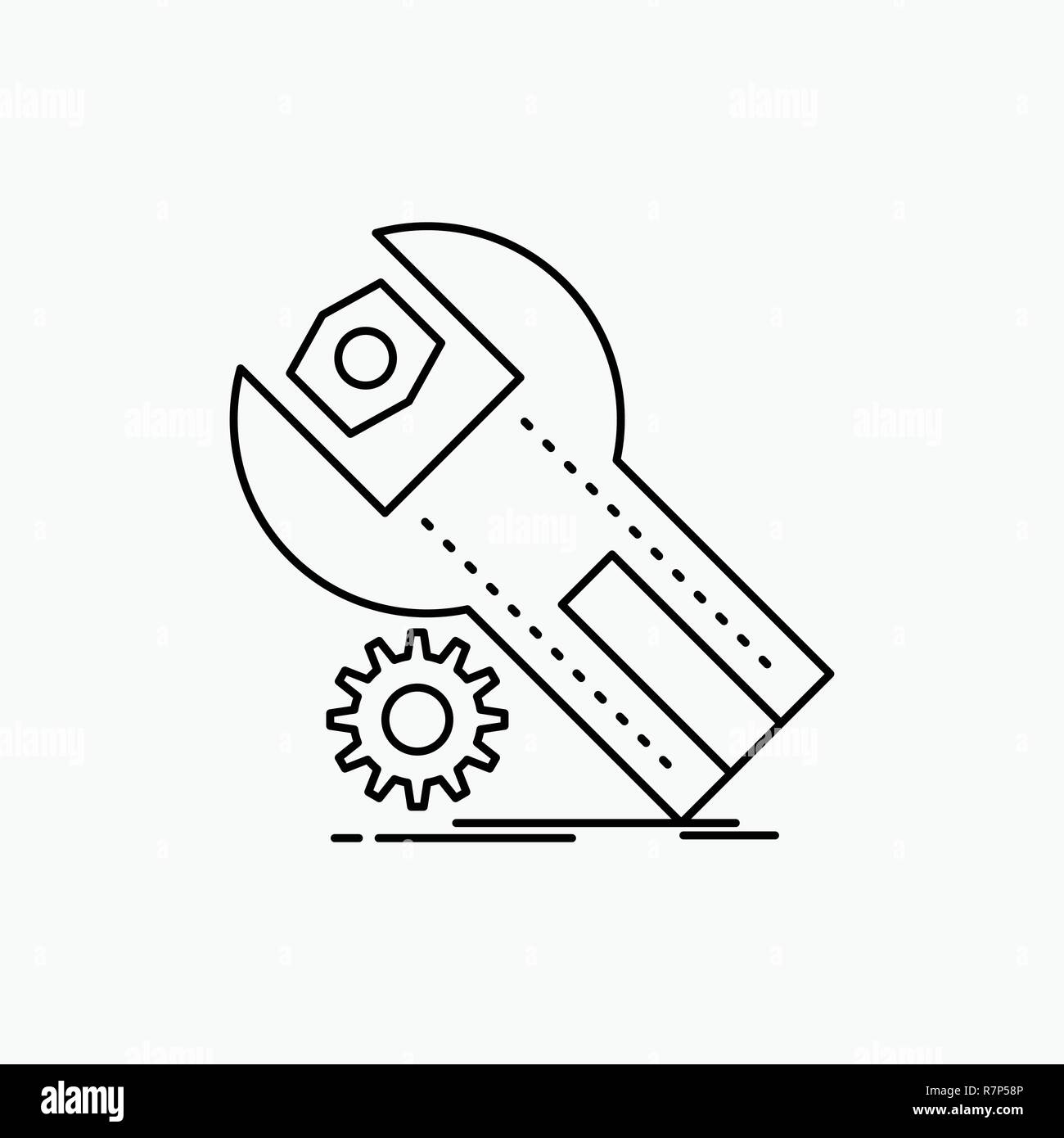 settings, App, installation, maintenance, service Line Icon  Vector
