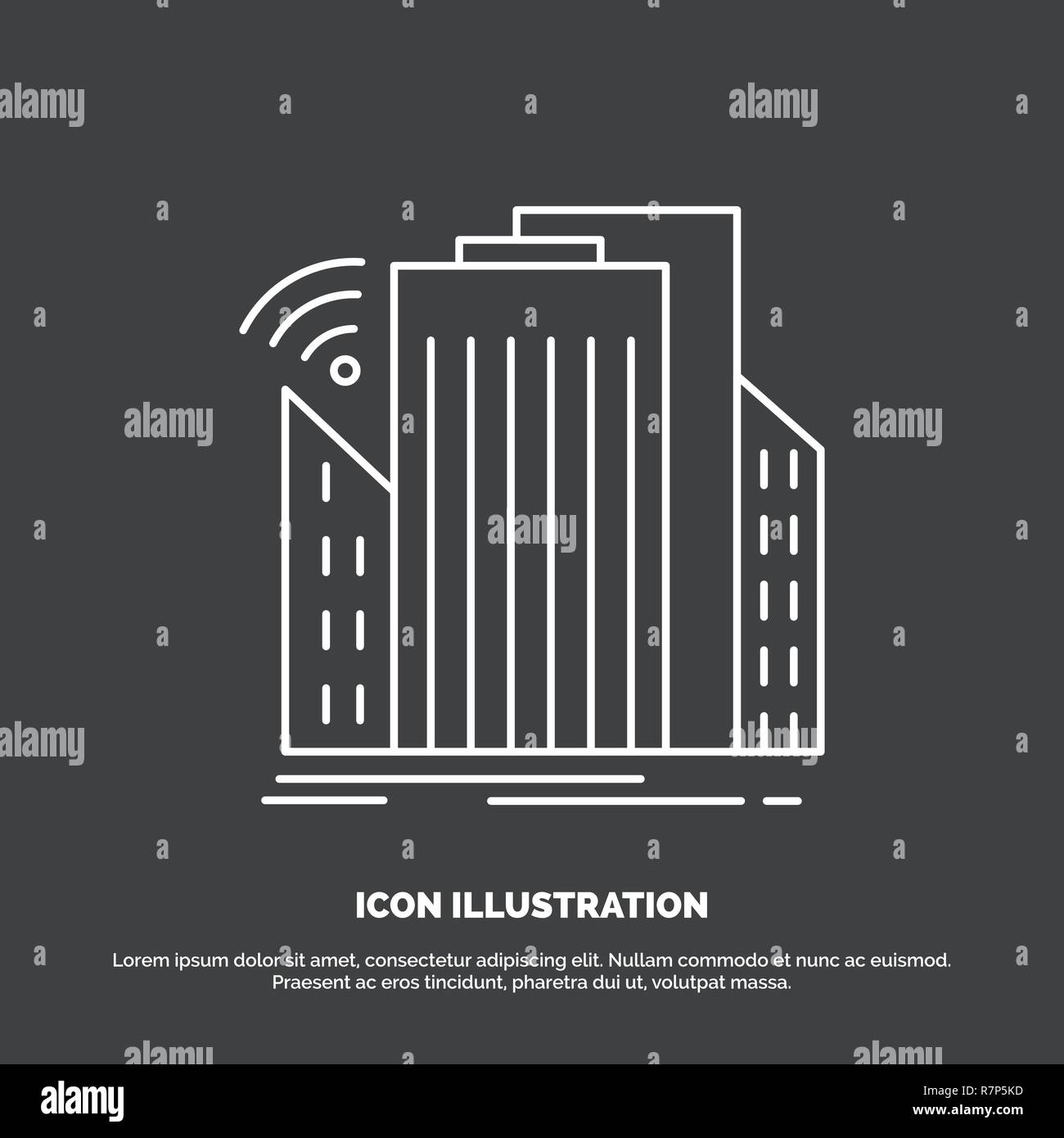 Buildings, city, sensor, smart, urban Icon. Line vector symbol for UI and UX, website or mobile application - Stock Vector