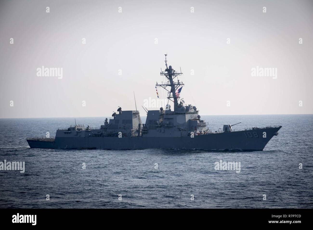 WATERS EAST OF THE KOREAN PENINSULA (March 22, 2017) The Arleigh Burke-class guided-missile destroyer USS Wayne E. Meyer (DDG 108) steams behind USS Stethem (DDG 63) as the ships participate in surface maneuvers with several other U.S. and Republic of Korea Navy ships and submarines during Foal Eagle (FE) 17. FE 17 is a series of annual training events designed to increase readiness to defend the ROK, protect the region, and maintain stability in the Korean Peninsula. - Stock Image