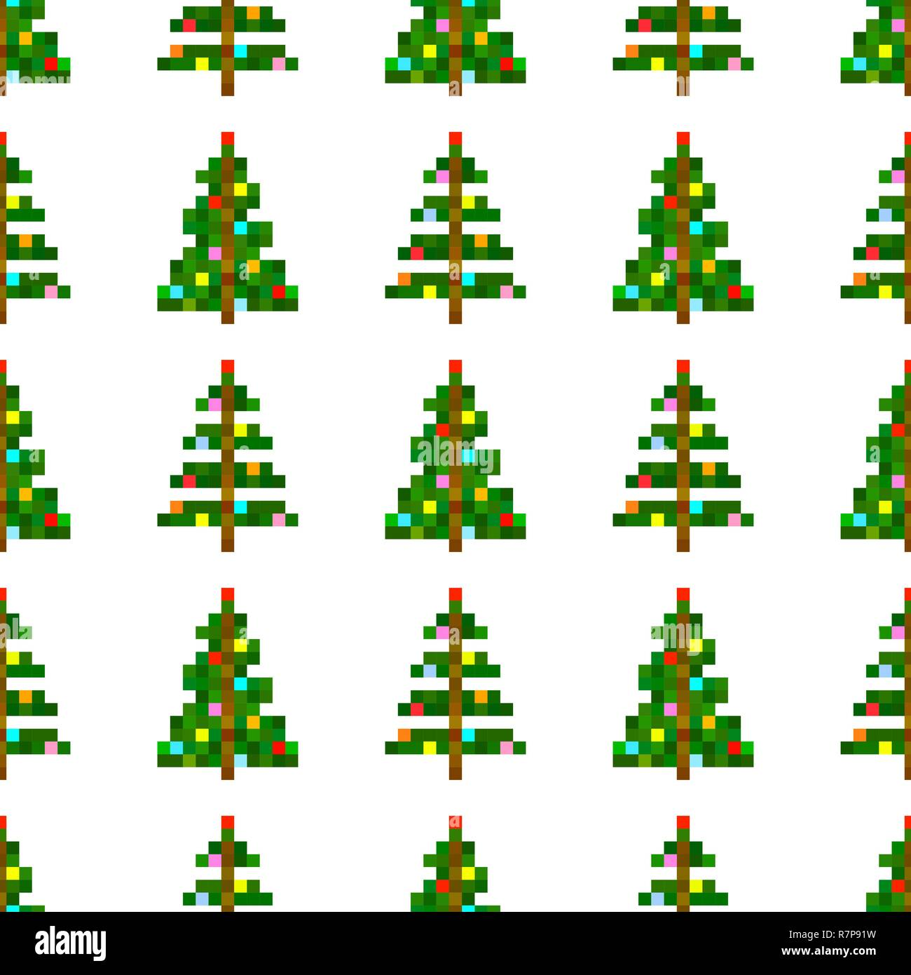 Vector Seamless Pattern Of Pixel Art Christmas Tree On White