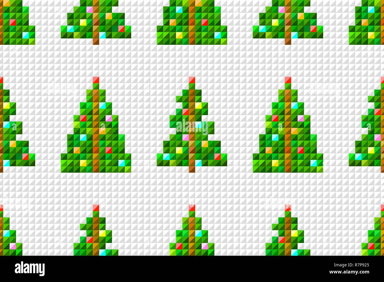 Vector Seamless Pattern Of Pixel Art Christmas Tree On Pixel