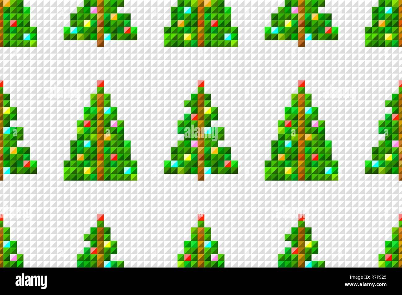 Vector Seamless Pattern Of Pixel Art Christmas Tree On Pixel