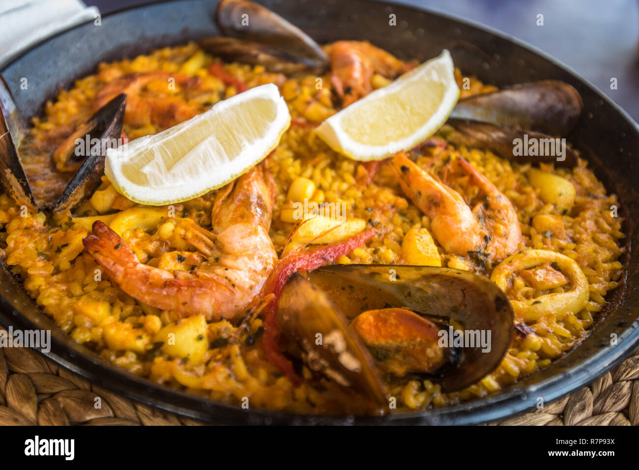 Seafood paella, traditional spanish dish Stock Photo