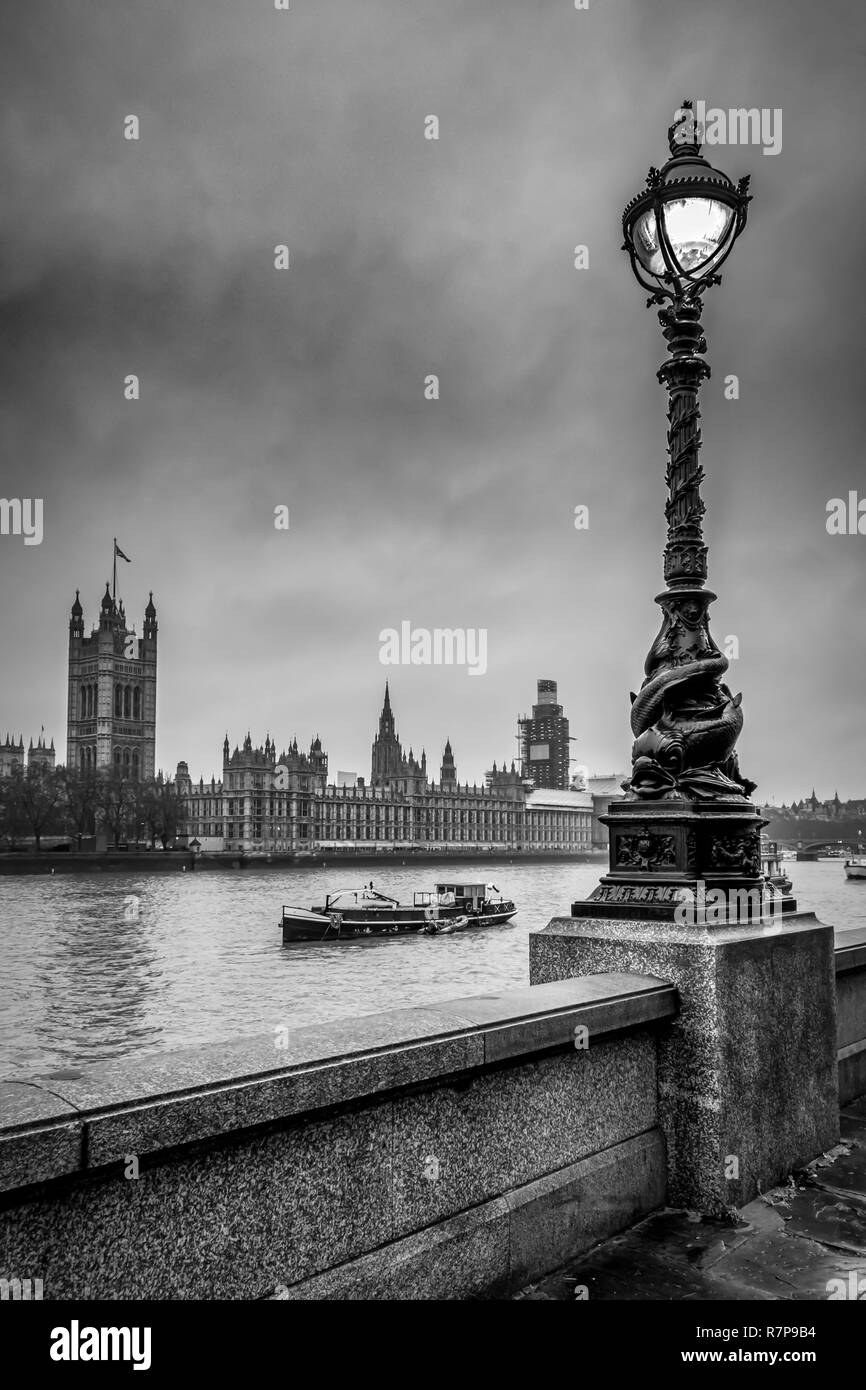 This is a view of Westminster in London from the South Bank of the River Thames - Stock Image