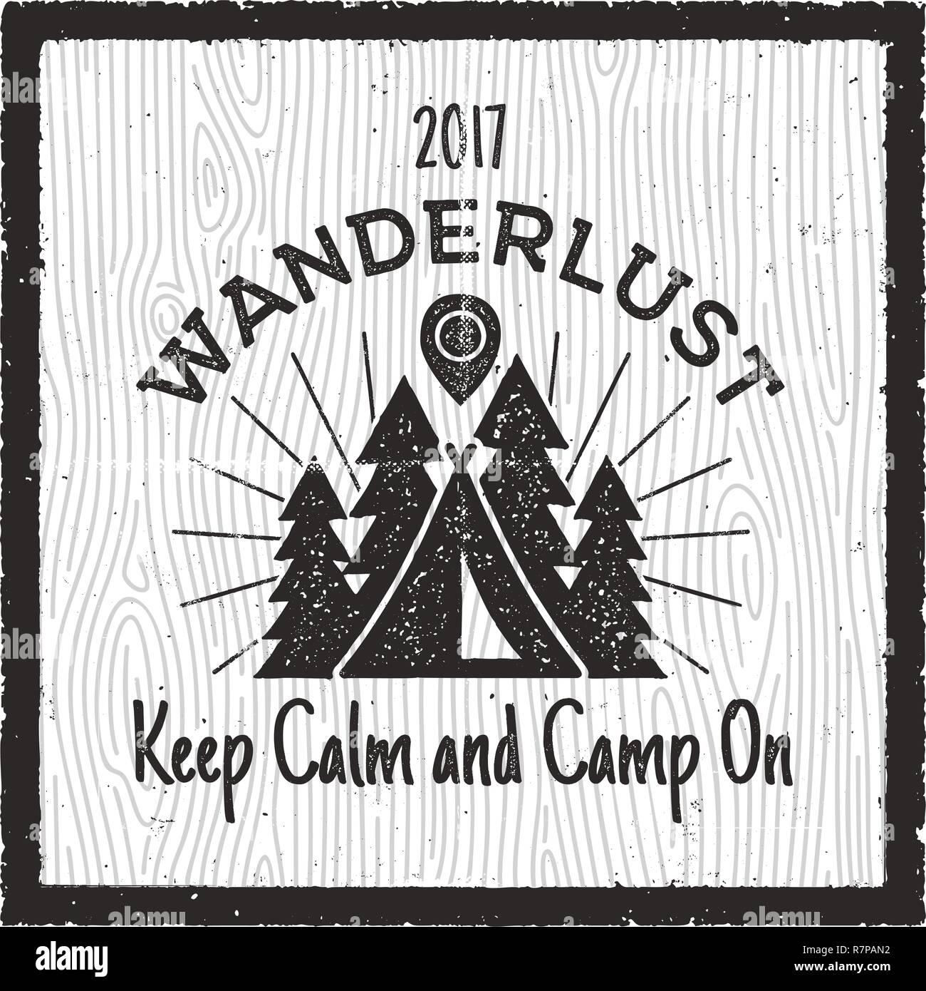 Wanderlust Camping badge  Old school hand drawn t shirt