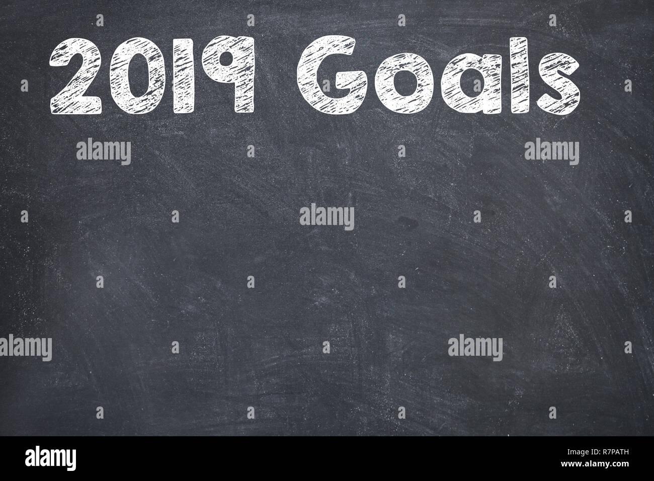 Goals 2019 on Blackboard - Stock Image