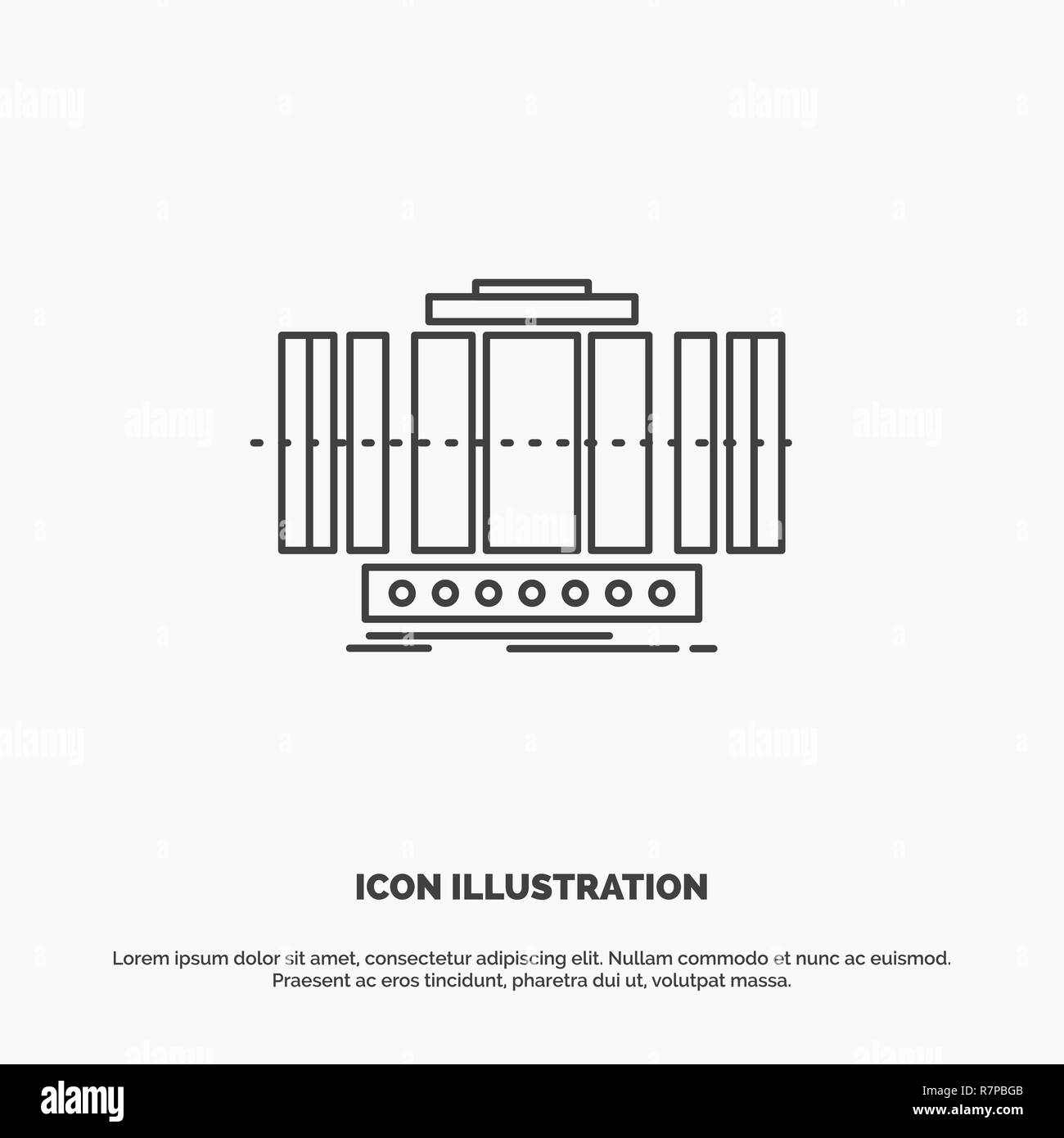 Turbine, Vertical, axis, wind, technology Icon  Line vector gray