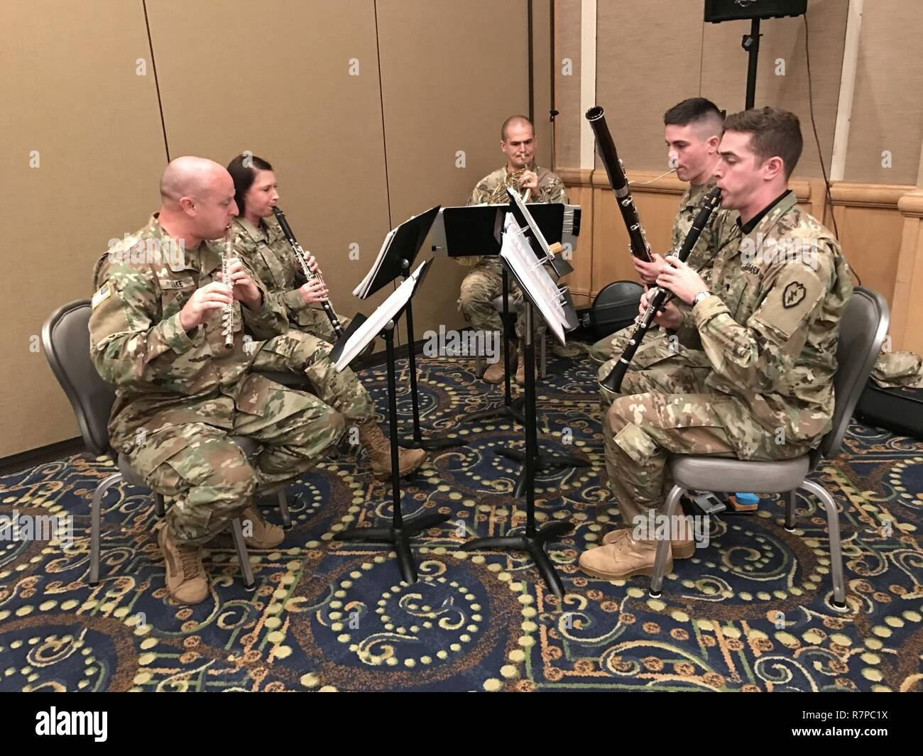 Soldiers from the 25th Infantry Division band play for