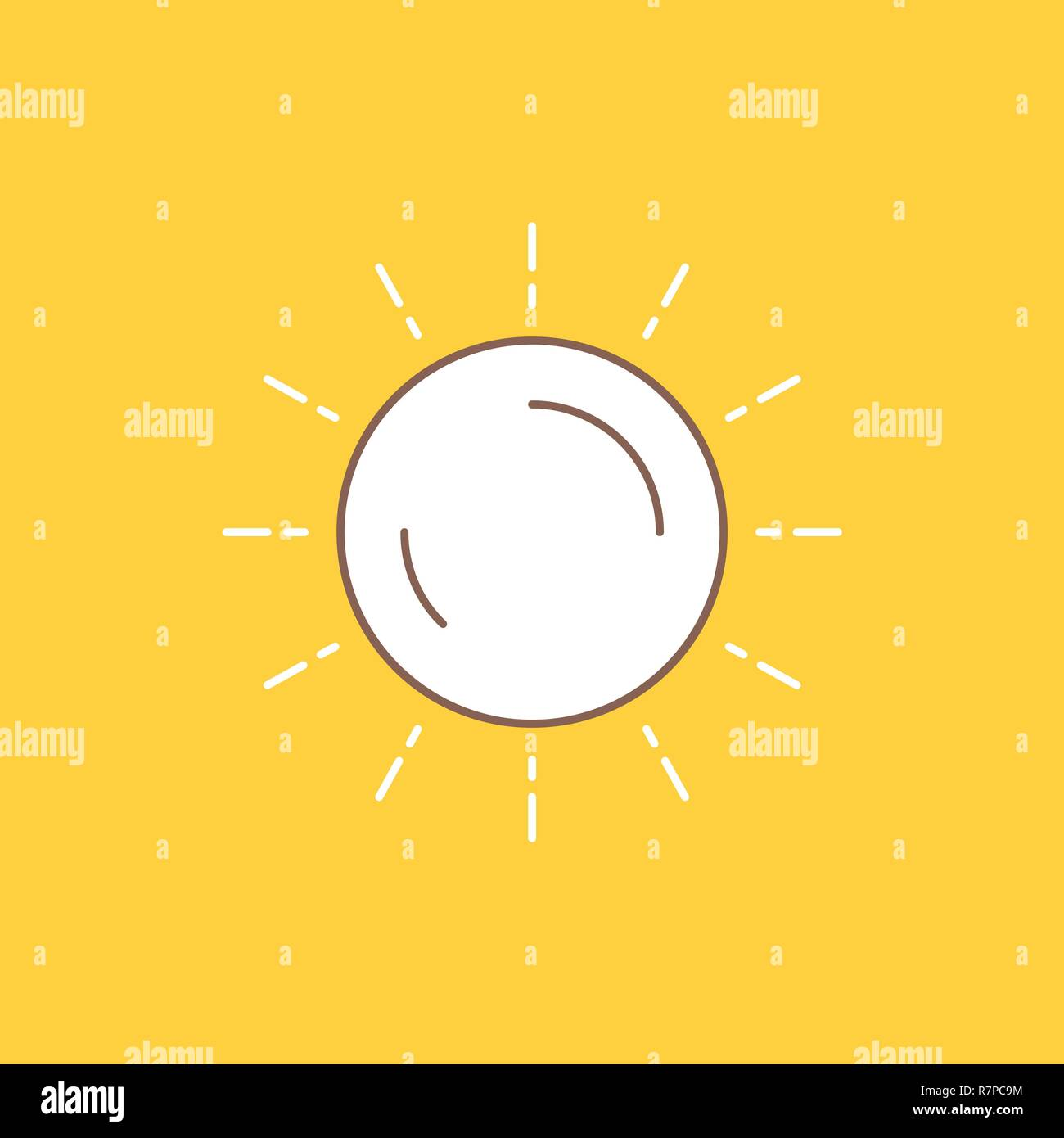 sun, weather, sunset, sunrise, summer Flat Line Filled Icon. Beautiful Logo button over yellow background for UI and UX, website or mobile application - Stock Vector