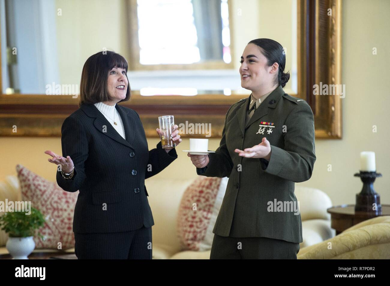 Second Lady Karen Pence Left And Marine Corps 1st Lt Talia Bastien React To Conversation At The Pence S Home In Washington D C March 23 2017 Pence Gathered Service Members From Every Branch Slow burn talia billig, nic hard & becca stevens, arrangers (becca stevens featuring jacob collier, mark lettieri, justin stanton, jordan perlson, nic hard, keita ogawa, marcelo woloski & nate. alamy