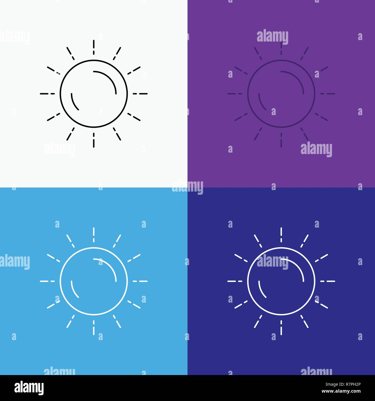 sun, weather, sunset, sunrise, summer Icon Over Various Background. Line style design, designed for web and app. Eps 10 vector illustration - Stock Vector