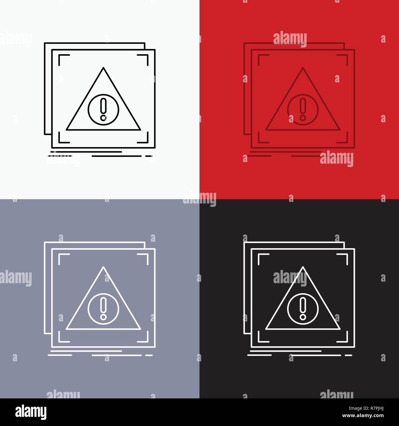 Error, Application, Denied, server, alert Icon Over Various Background. Line style design, designed for web and app. Eps 10 vector illustration - Stock Image