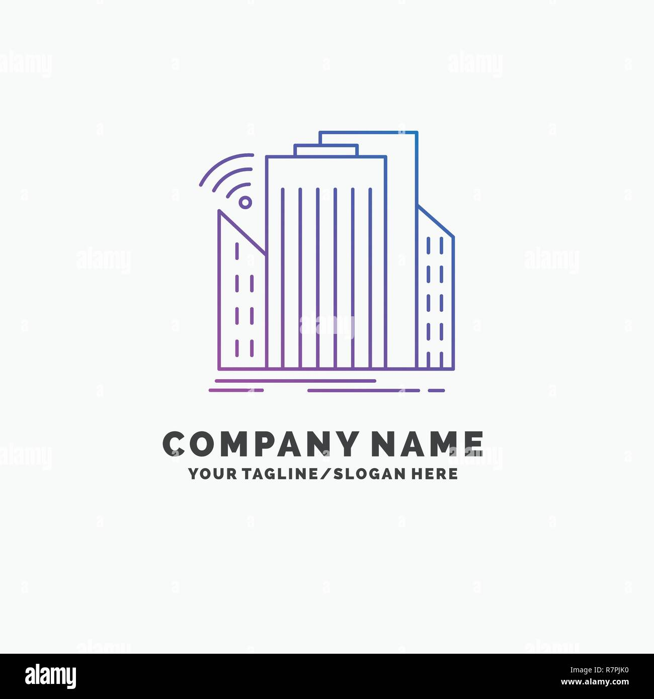 Buildings, city, sensor, smart, urban Purple Business Logo Template. Place for Tagline - Stock Vector
