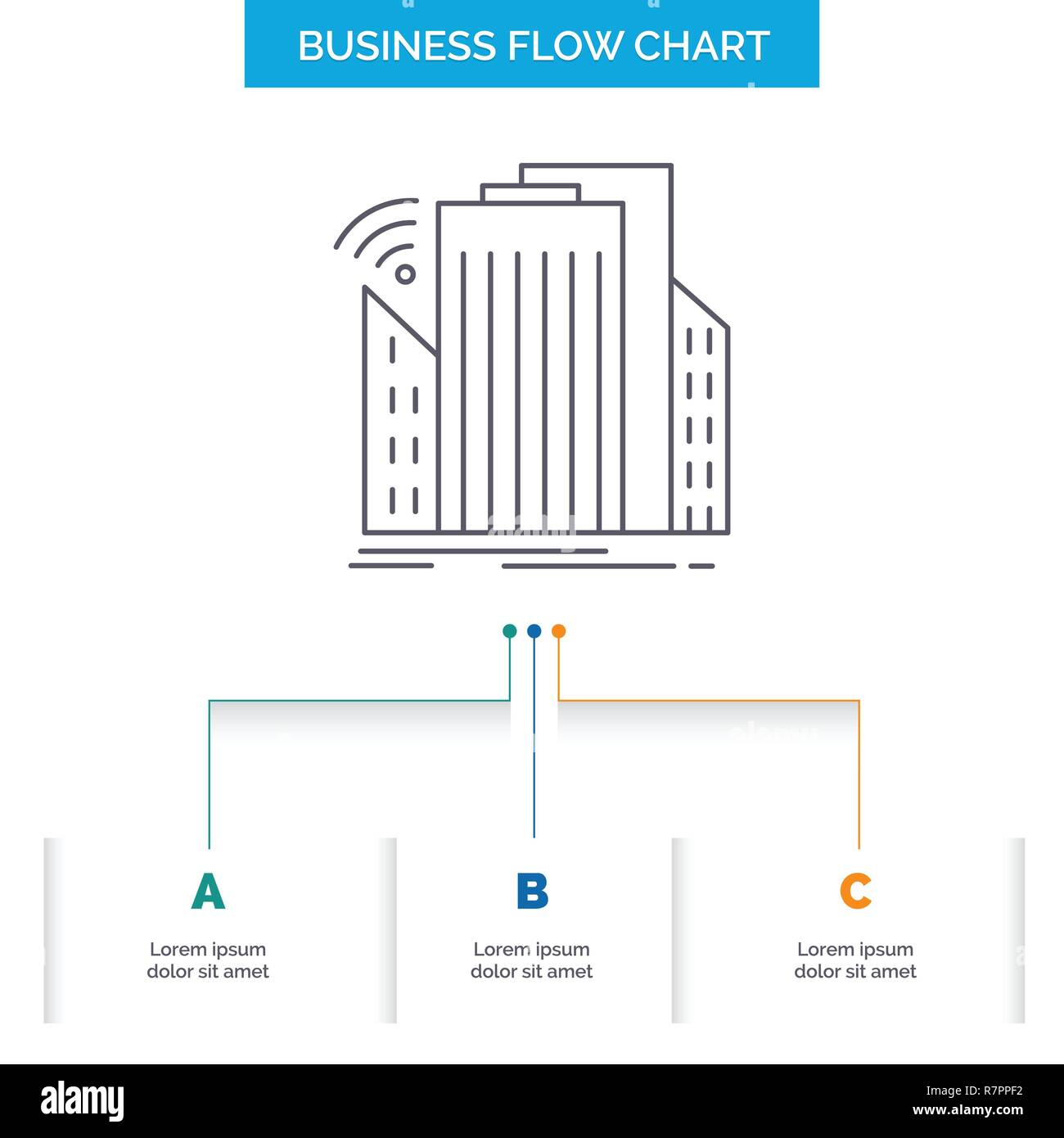 Buildings, city, sensor, smart, urban Business Flow Chart Design with 3 Steps. Line Icon For Presentation Background Template Place for text - Stock Vector