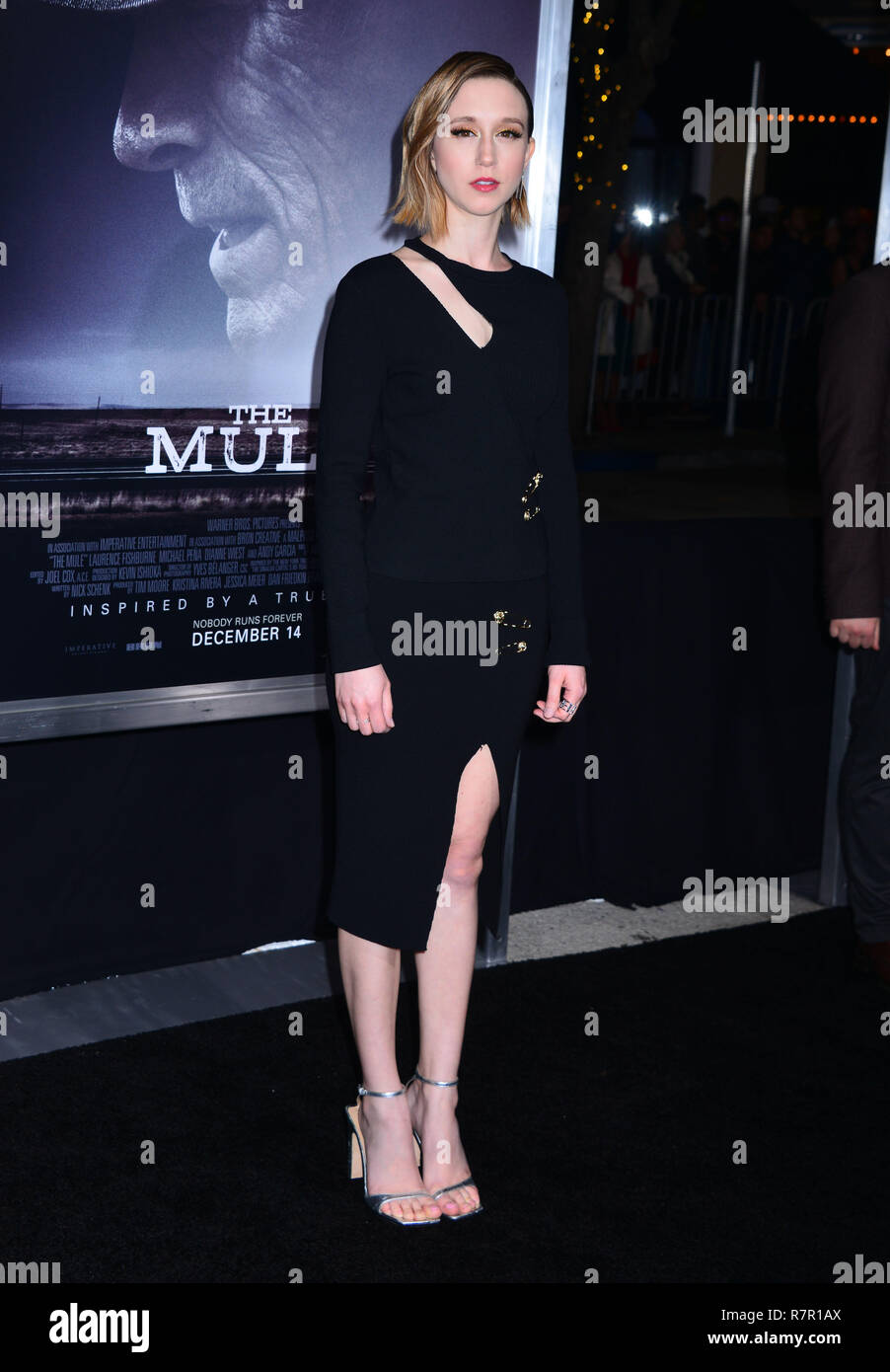 Westwood, California, USA. 10th Dec 2018. Taissa Farmiga 189 attends Warner Bros. Pictures World Premiere Of 'The Mule' at Regency Village Theatre on December 10, 2018 in Westwood, California. Credit: Tsuni / USA/Alamy Live News - Stock Image