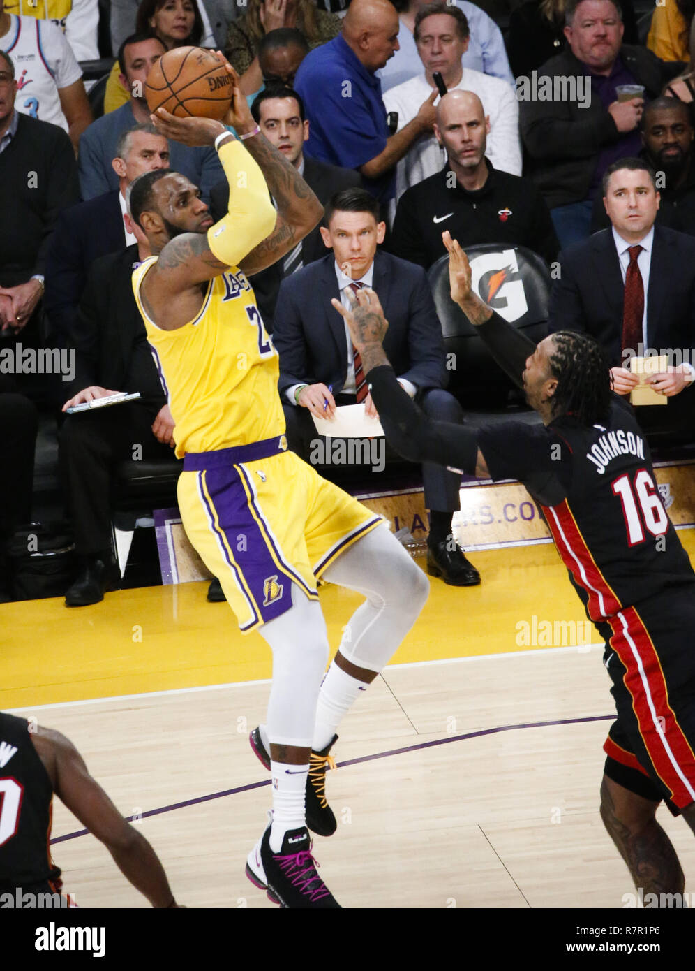 0b696622be0c Los Angeles Lakers  LeBron James (23) shoots against Miami Heat s James  Johnson (16) in an NBA basketball game between Los Angeles Lakers and Miami  Heat ...