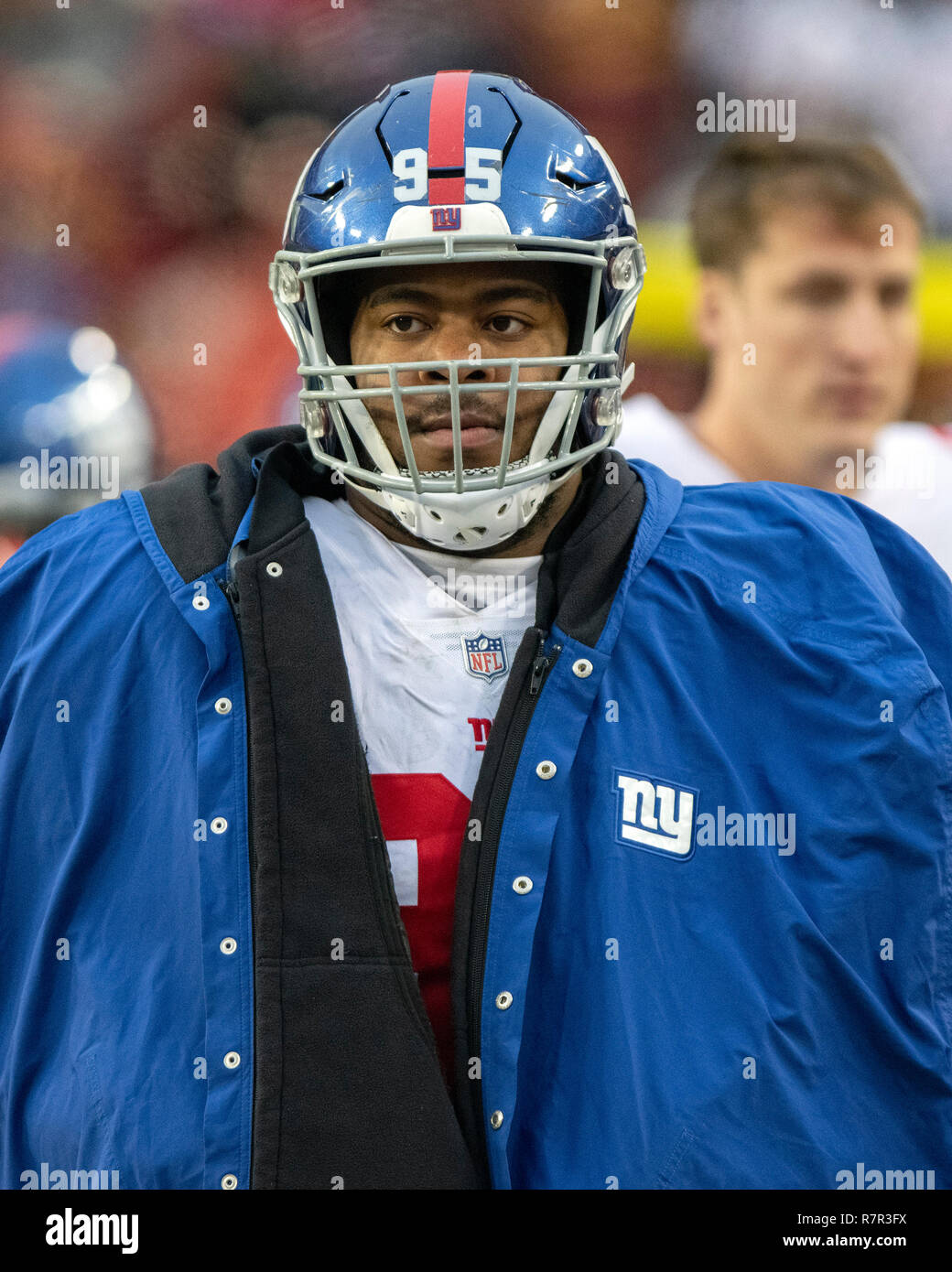 f095a61d New York Giants defensive end B.J. Hill (95) on the sidelines during ...