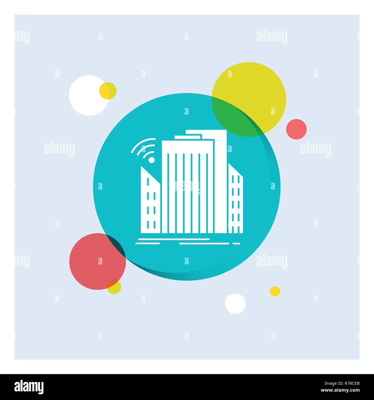 Buildings, city, sensor, smart, urban White Glyph Icon colorful Circle Background - Stock Vector