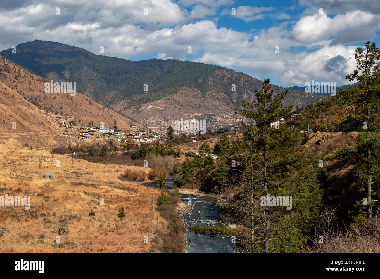 Wang Chu River and Thimphu, Bhutan - Stock Image