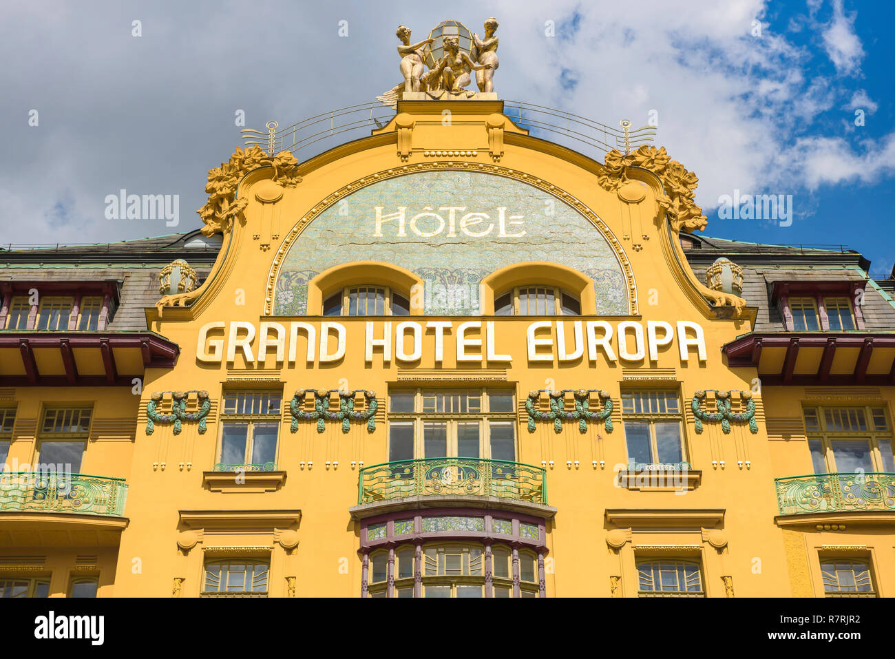 Grand Hotel Europa Prague, detail of the front of the art nouveau style Grand Hotel Europa in Wenceslas Square in central Prague, Czech Republic. - Stock Image