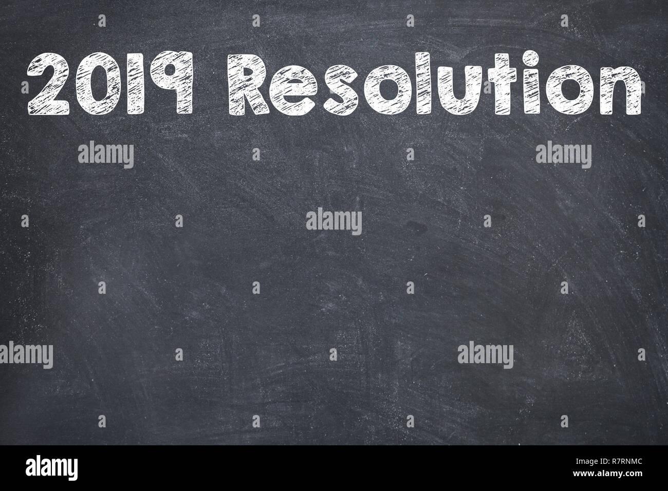 2019 New Year Resolution Check List on Blackboard - Stock Image
