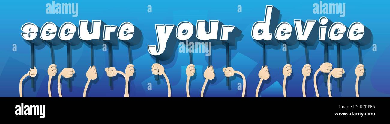 Diverse hands holding letters of the alphabet created the word Secure Your Device. Vector illustration. - Stock Image