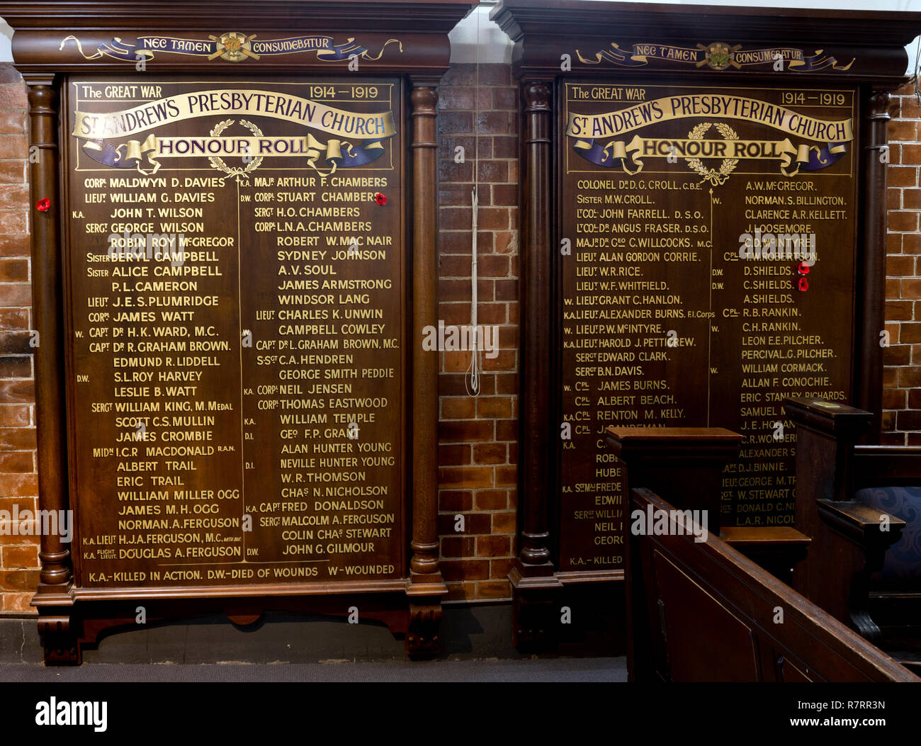World War One honours board, St. Andrew`s Uniting Church, Creek Street, Brisbane, Queensland, Australia - Stock Image