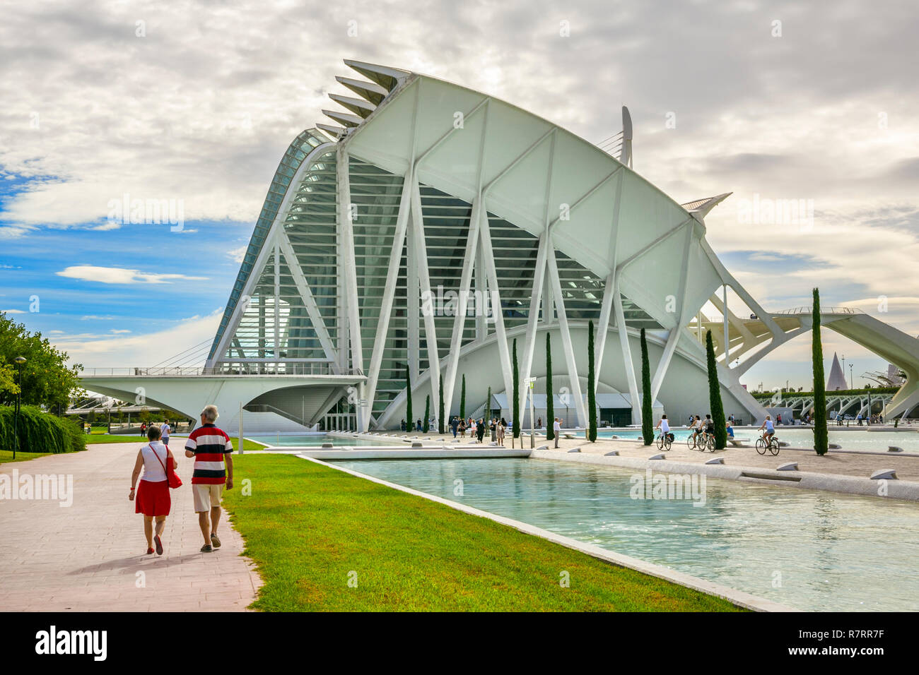 Principe Felipe Science Museum. City of Arts and Sciences .Architect Santiago Calatrava and Felix Candela. Valencia. Comunidad Valencia. Spain. Europe - Stock Image