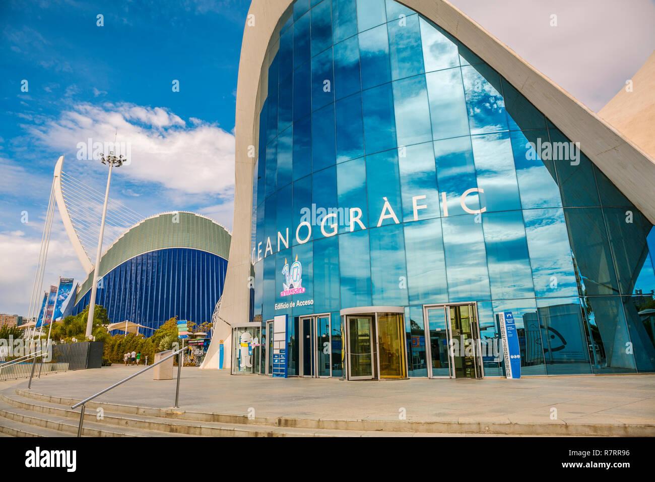Oceanographic. City of Arts and Sciences. Architect Felix Candela. Valencia. Comunidad Valencia. Spain. Europe - Stock Image