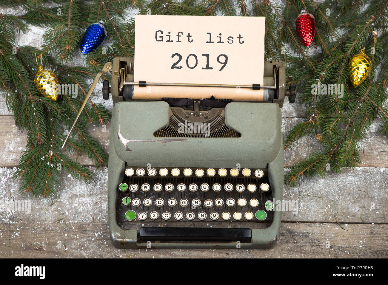 Christmas List 2019.Christmas Concept Typewriter With Text Gift List 2019