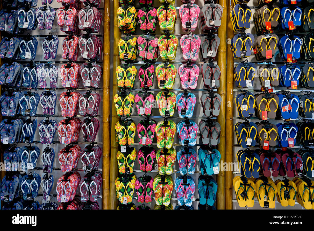 Flip flops. Flip flop shoes for sale - Stock Image