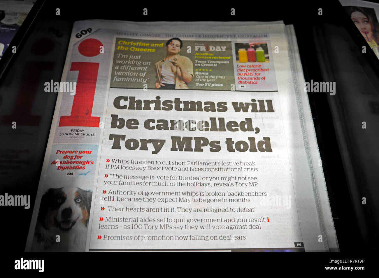 """i newspaper Independent front page Brexit headline """"Christmas will be cancelled, Tory MP's told"""" newspaper on a newsstand 30 November 2018 London UK Stock Photo"""