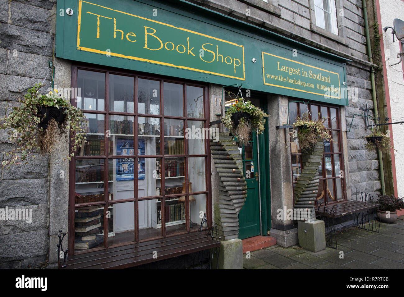 The Diary of a Bookseller author Shaun Bythell at Scotland's biggest second-hand bookshop premises in Wigtown, where he wrote his best selling book. - Stock Image