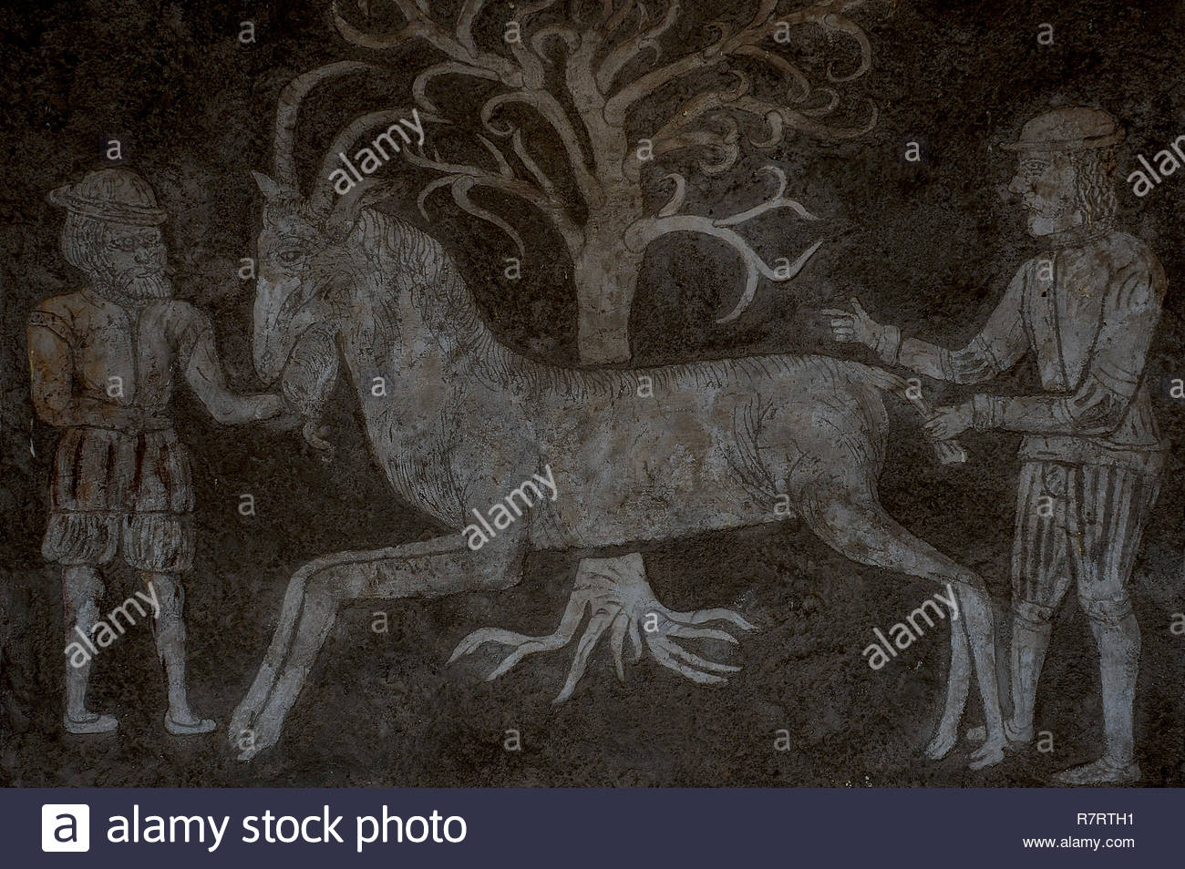 Slavonice, South Bohemia, Czech Republic: restored rustic sgraffito by door of medieval house rebuilt c.1550 of 2 men holding horned & bearded goat. - Stock Image