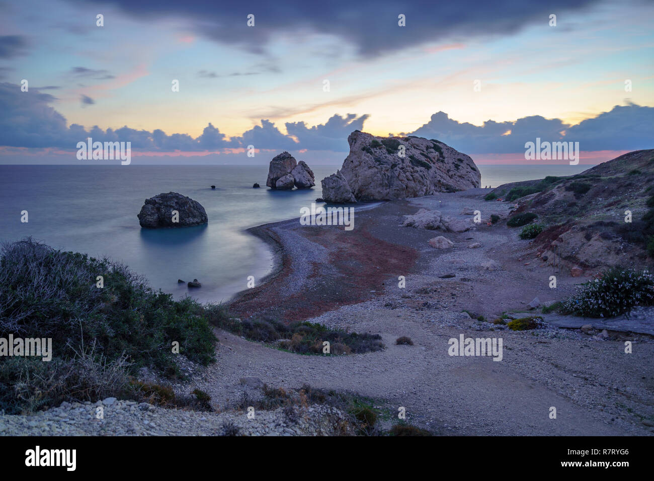 Longtime Exposure Aphrodite's Rock at blue Hour - Stock Image