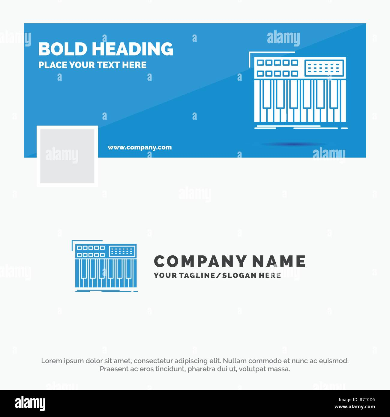 Blue Business Logo Template for synth, keyboard, midi, synthesiser