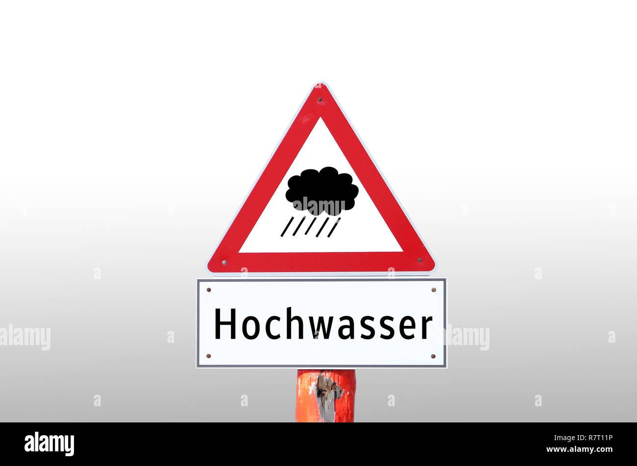 Warning sign high water - Stock Image