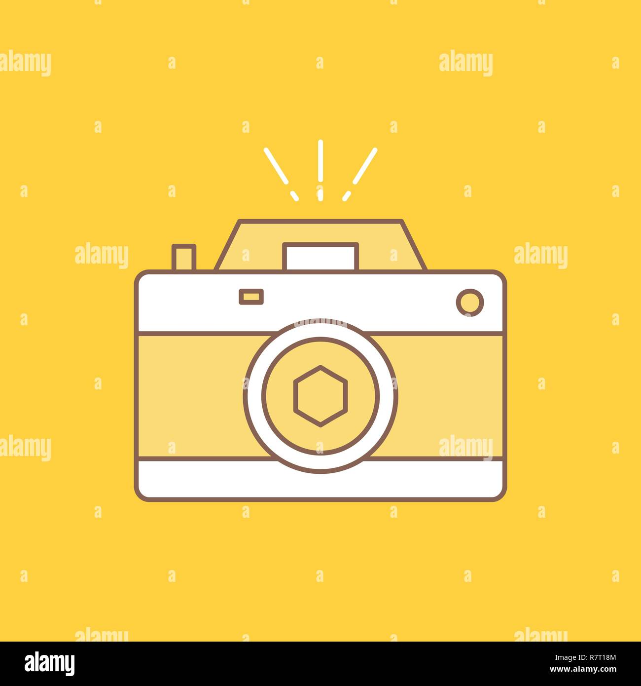 Camera, photography, capture, photo, aperture Flat Line Filled Icon. Beautiful Logo button over yellow background for UI and UX, website or mobile app - Stock Vector
