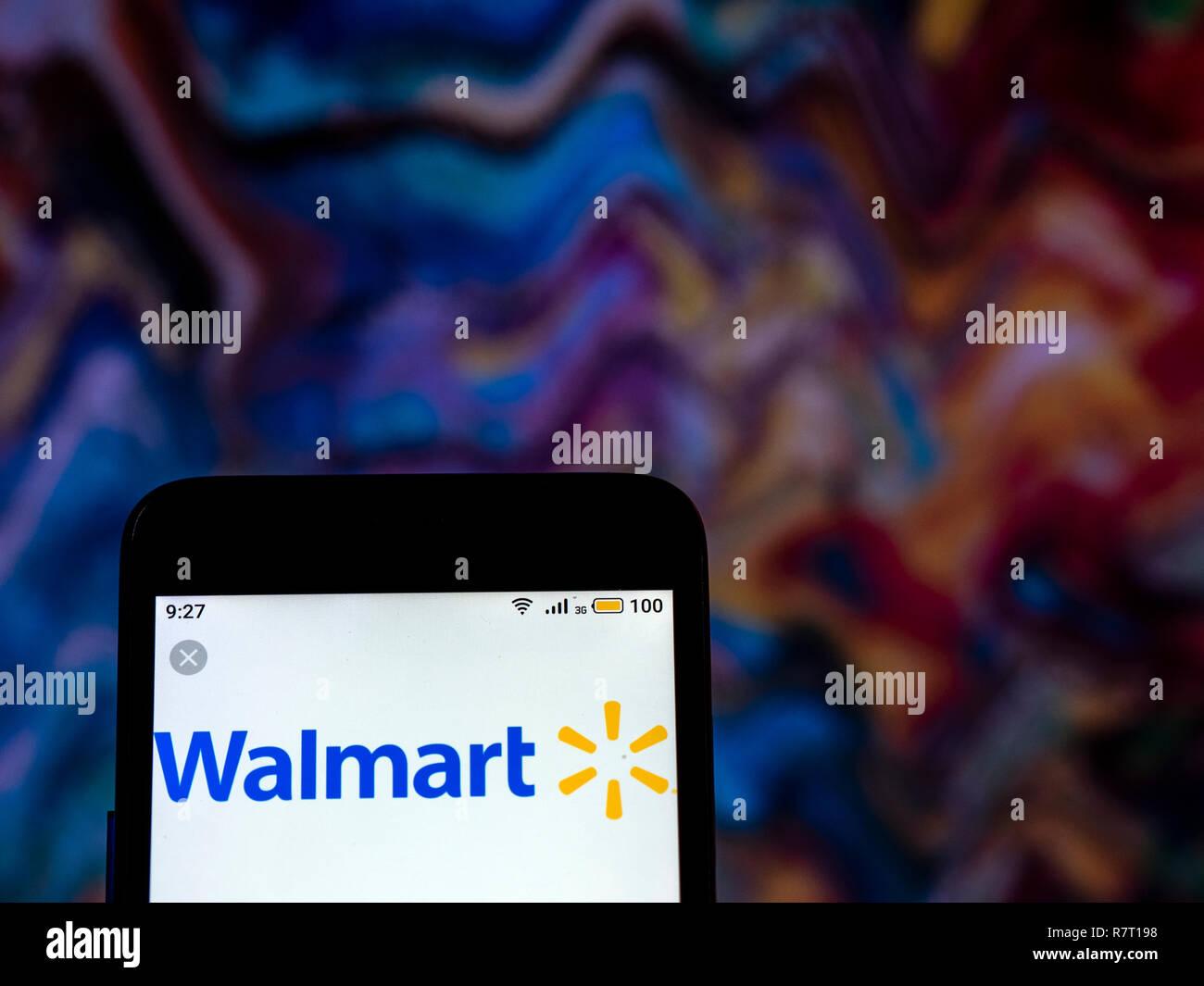 Walmart Stock Phone Number >> Walmart Logo Seen Displayed On Smart Phone Stock Photo 228565268