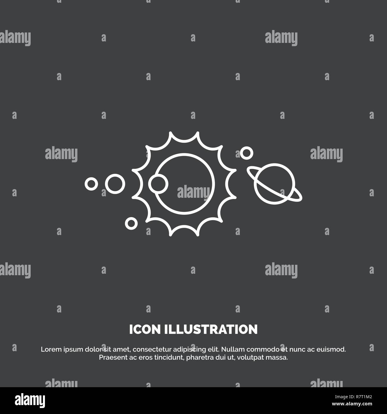 solar, system, universe, solar system, astronomy Icon  Line vector