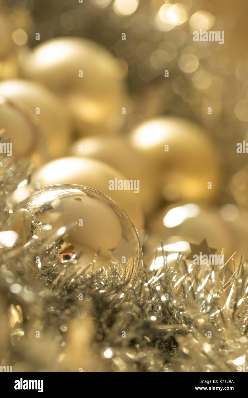 Images of Christmas tree decorations including baubles - Stock Image