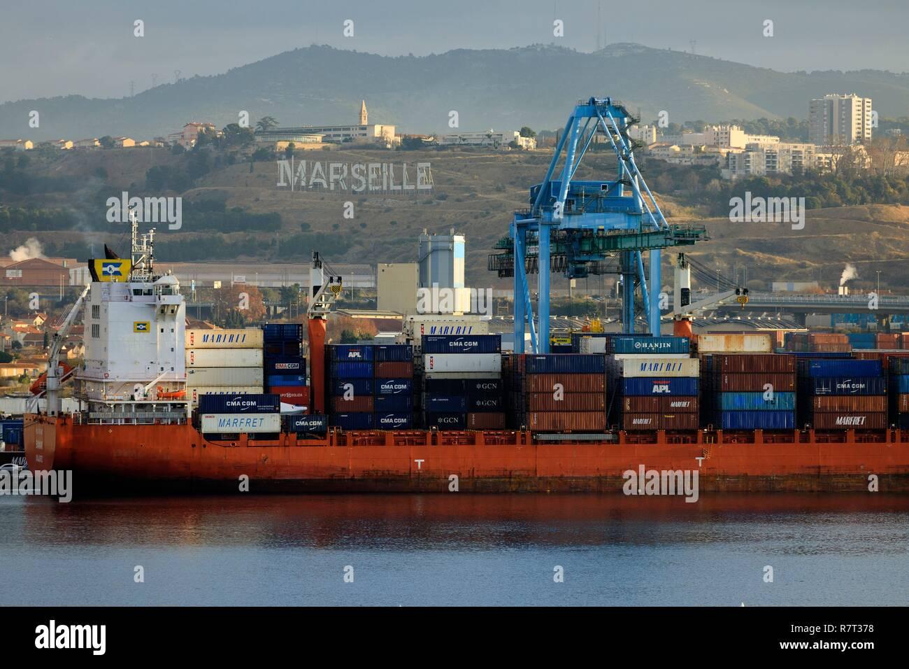 Marvelous France, Bouches Du Rhone, Marseille, Marseilleu0027s Grand Port Maritime, 16th  Arrondissement, Saint Andre District, Container Terminal And La Viste  District In ...